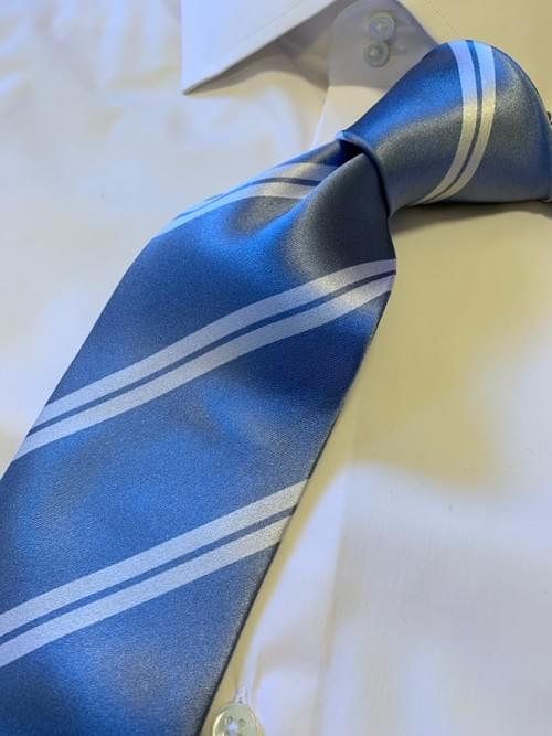 Back in Stock: Light Blue with White Academic Stripe Tie