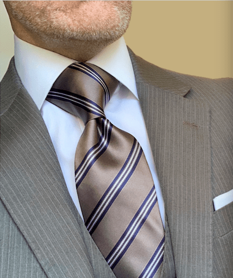 Tan with Navy Striped Tie