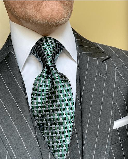 NEW - Green Light Blue Waffle Grid Tie