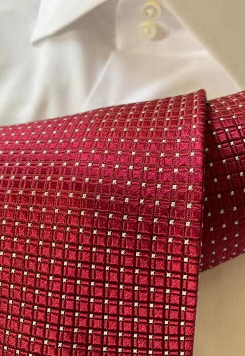NEW -  Burgundy Satin Squares Tie