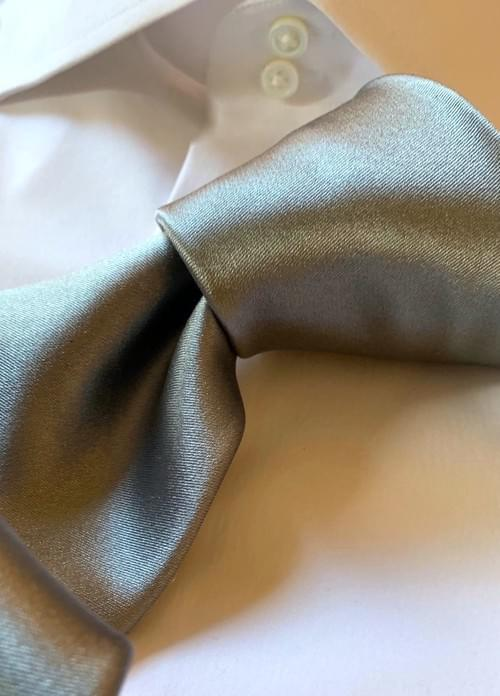 NEW - Silver Solid Satin Tie