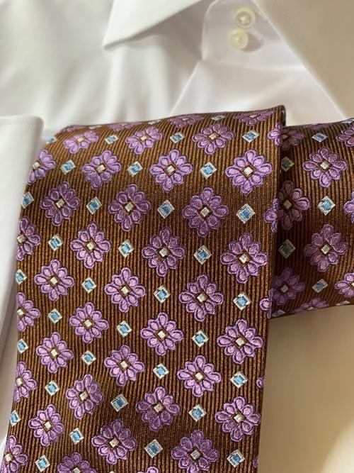 NEW - Brown and Pink Floral Geometric Tie