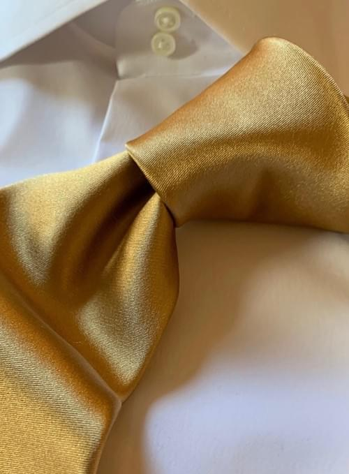 NEW - Gold Solid Satin Tie