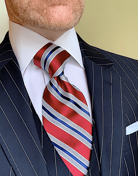 Burgundy Navy Satin Striped Tie