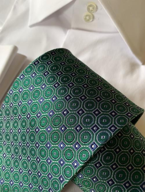 CLEARANCE:  Green Blue Circle Hex Tie