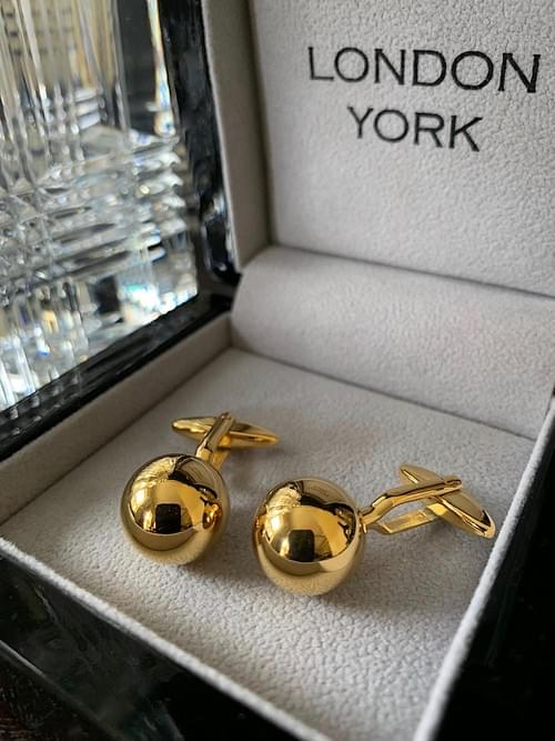 24k Gold Plated Steel Sphere Cufflinks