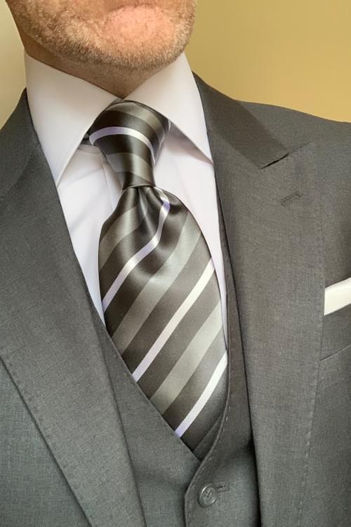CLEARANCE:  Gabriel Grey Striped Tie