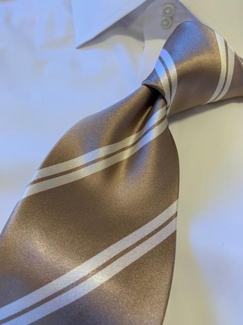 NEW - Tan with White Academic Stripe Tie
