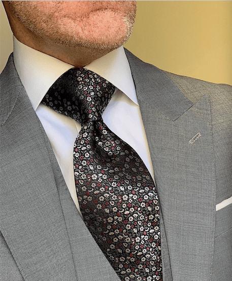 Black Red Silver Floral Tie