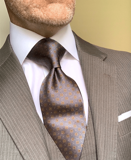 Grey with Tan Micro Squares Tie