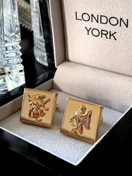 NEW - 24k Gold Plated Dragon & Eagle Cufflinks