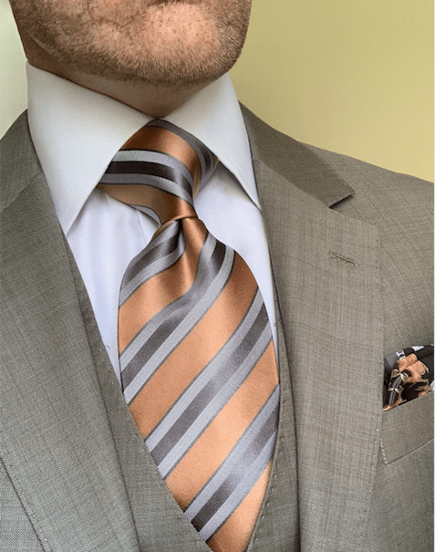 Tan and Grey Satin Striped Tie