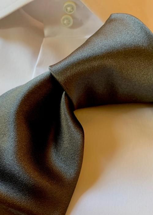 NEW - Dark Steel Solid Satin Tie