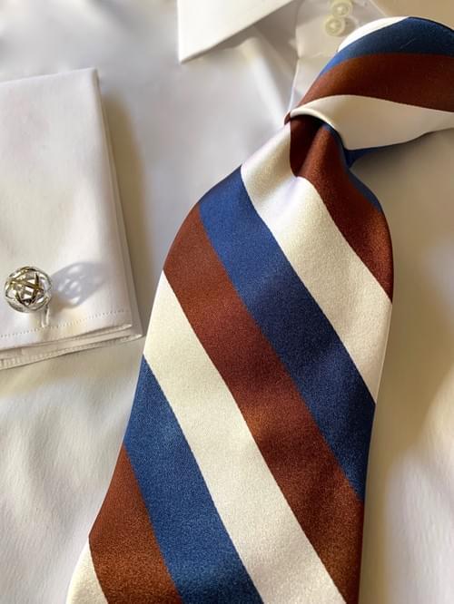 NEW - Blue White Brown Satin Striped Tie