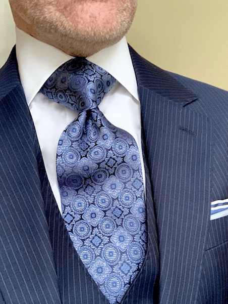 Blue Silver Tapestry Tie