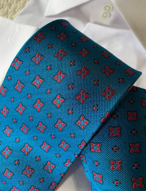Turquoise Red Black Geometric Tie
