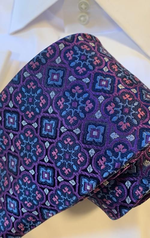 BACK IN STOCK - Purple Pink Blue Stained Glass Tie