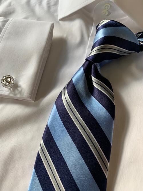 NEW - Navy Light Blue Power Striped Tie