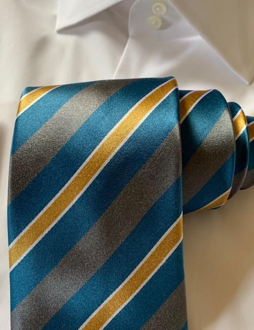 NEW - Teal Gold and Silver Striped Tie