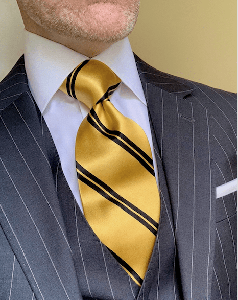 NEW - Gold with Black Academic Stripe Tie