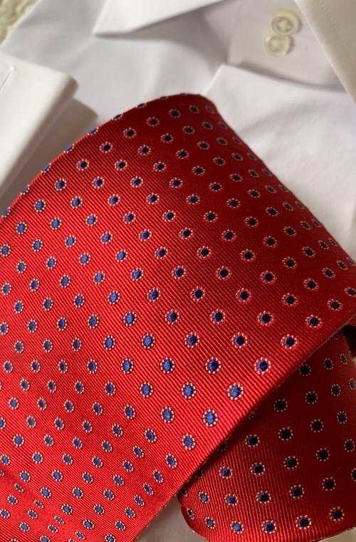 NEW - Red with Blue Classic Dots Tie