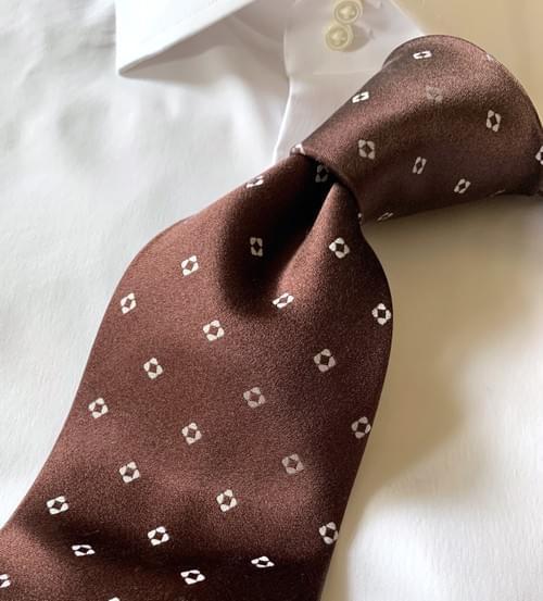 NEW - Chocolate Brown Diamond Dots Tie