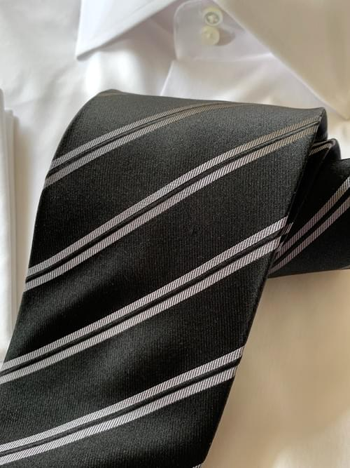 NEW - Black and Silver Double Striped Tie