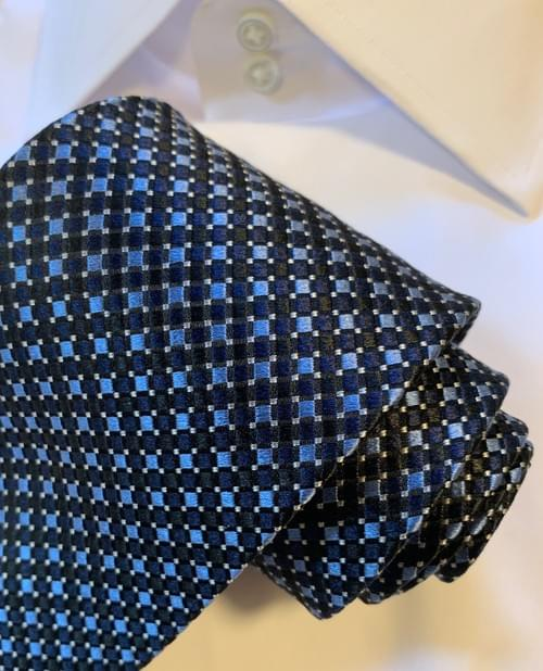 Blue and Black Check Woven Tie