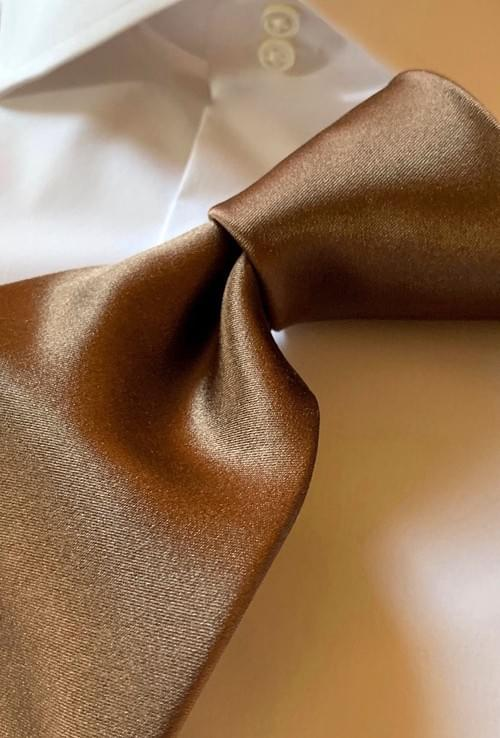 NEW - Coffee Solid Satin Tie