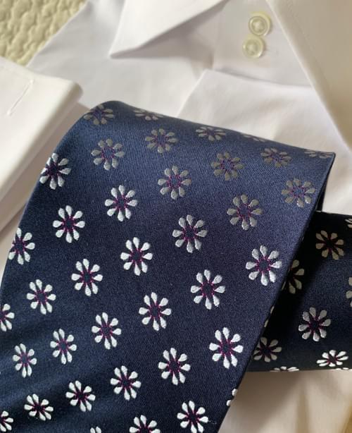 Navy Silver Cheer Tie