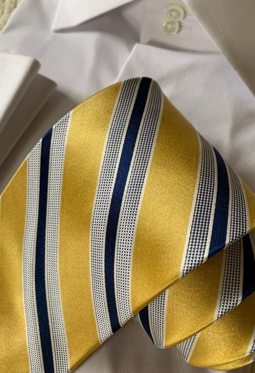 NEW - Yellow Navy Satin Striped Tie