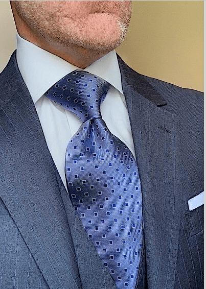 Silver Blue Micro-Squares Tie