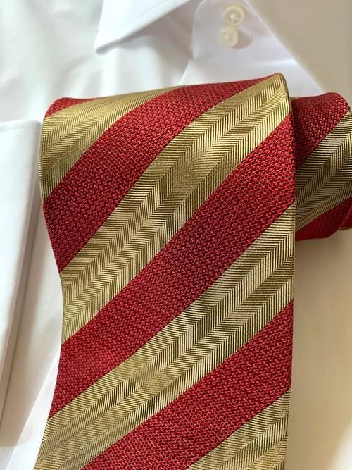 CLEARANCE:  Red and Tan Herringbone Striped Tie