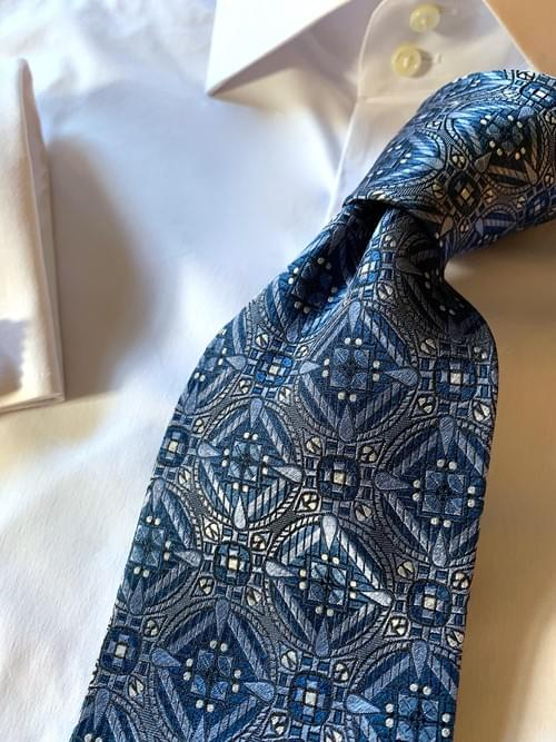 NEW - Blue Snow Crystal Sheen Tie