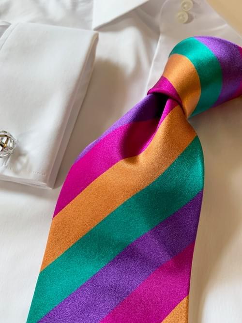 NEW - Rio Carnival Satin Striped Tie