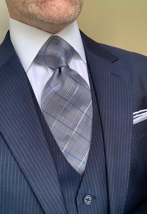 Light Blue Glen Plaid Tie