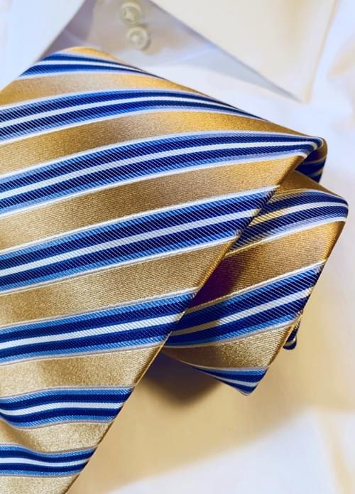 BACK IN STOCK - Gold Satin Striped Tie