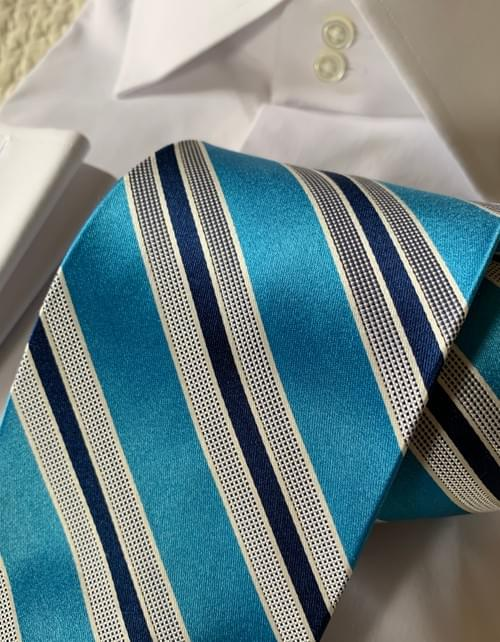 BACK IN STOCK  - Robin Blue Satin Striped Tie