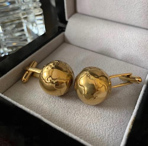 NEW - 24k Gold Plated Steel Globe Cufflinks