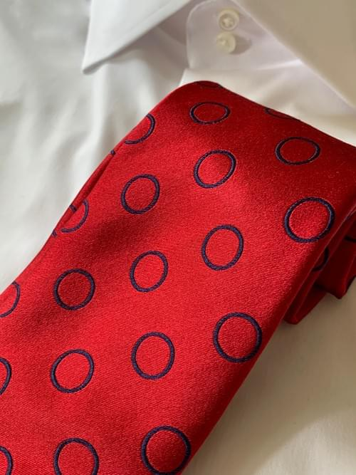 NEW - Red Satin With Navy Circles Tie