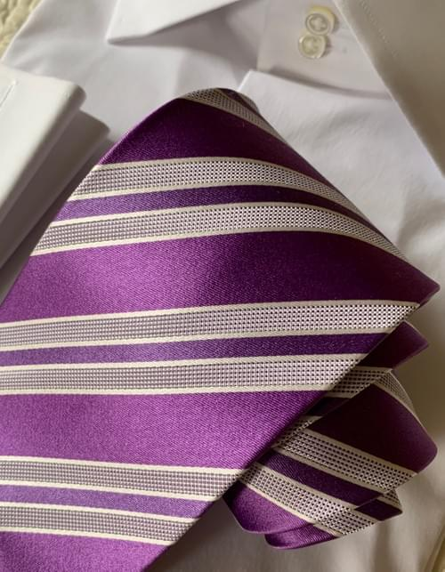BACK IN STOCK - Purple Passion Satin Striped Tie