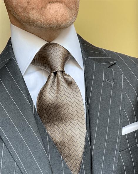 NEW - Tan Silver Herringbone Tile Tie