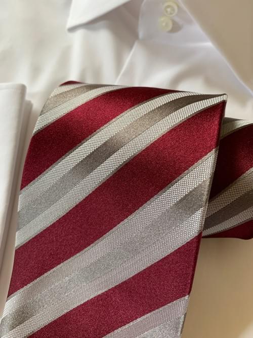 Burgundy Grey Satin Striped Tie