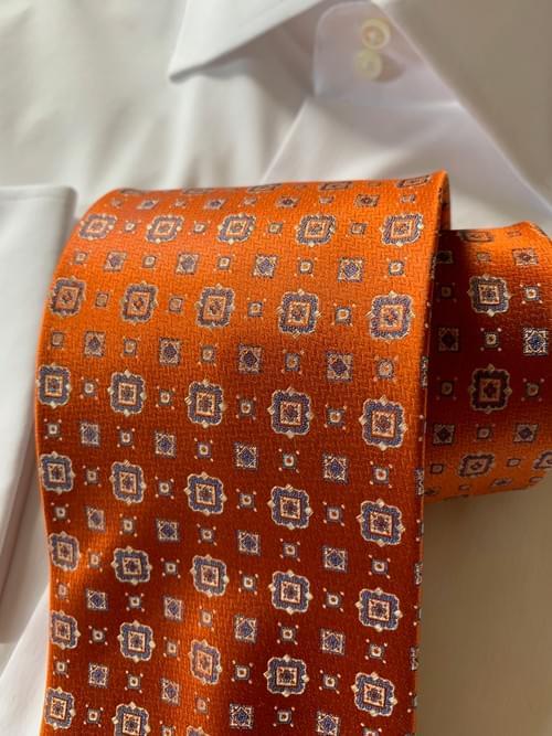 NEW - Shiny Pumpkin Geometric Tie