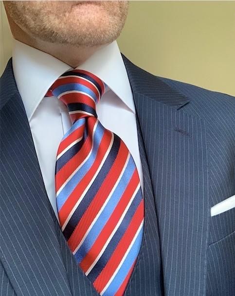 NEW - Red Navy Light Blue Ribbon Striped Tie
