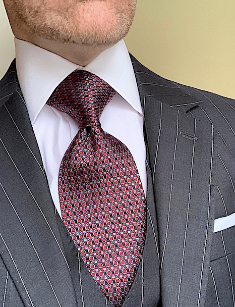 Black Red Silver Micro-Circles Tie