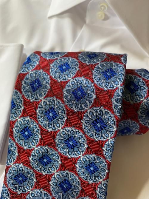Red and Silver Blue Kaleidoscope Tie