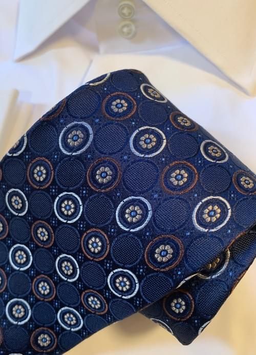 Navy with Brown Circles Tie