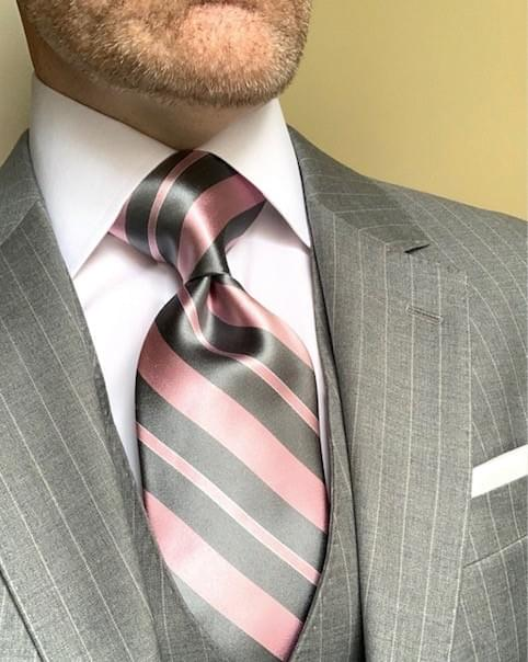 NEW - Pink And Grey Satin Striped Tie
