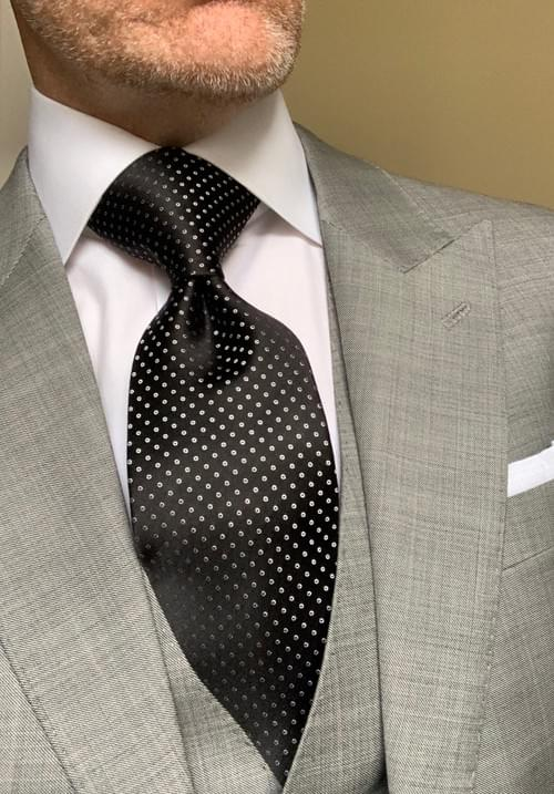 Black with White Micro-Circles Tie